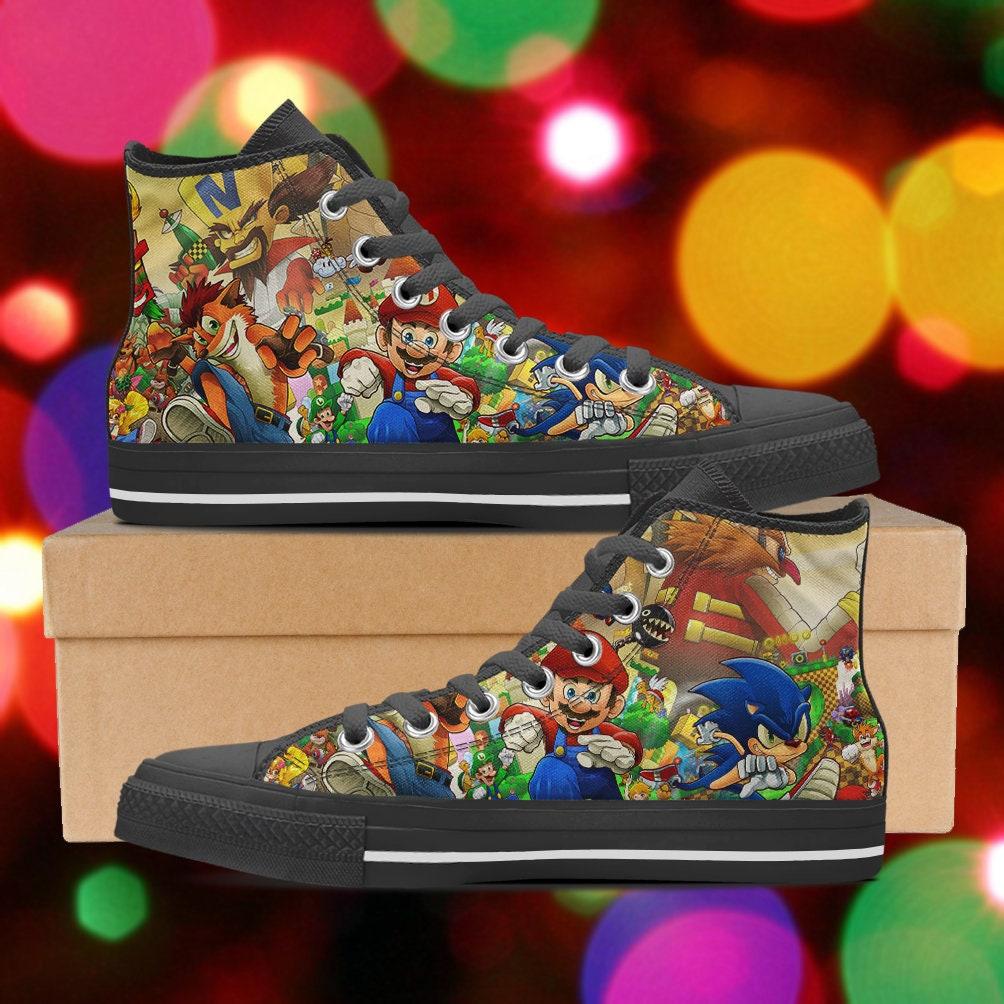 Super mario tops, shoes, Bandicoot Sonic high tops, mario Super Mario sneakers, look like converse, Women's Men's Kid's Hi Tops, clothing a8bc4d