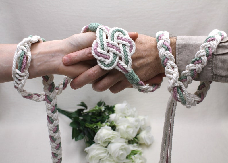 Handfasting Cords  2  Hearts Knot   Custom Colors  Wedding image 0