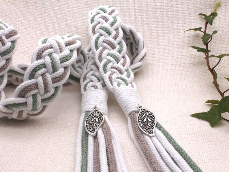 Handfasting Cords in Natural Cotton  White Sage and Pearl image 0