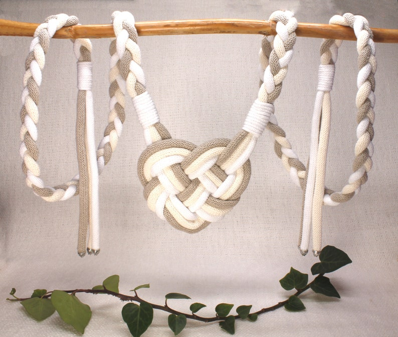 Handfasting Cords  Heart Knot Cord in Natural Cotton  White image 0