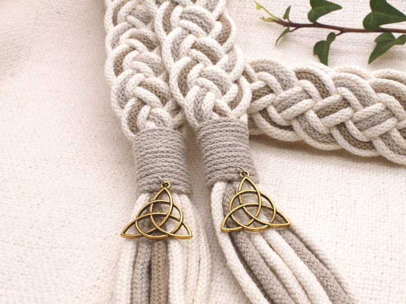 Handfasting Cords in Natural Cotton   Ivory Sand & Taupe With Gold Triquetras
