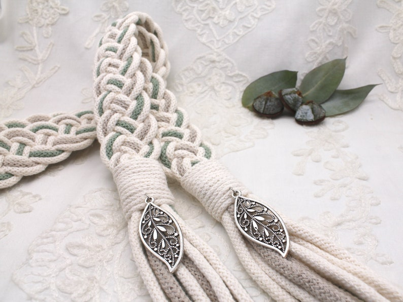 Handfasting Cords in Natural Cotton  Ivory Sage and Taupe image 0
