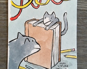 Book Cats - original framed painting