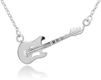 14496fa98 925 Sterling Silver Electric Guitar Music Player Lover Pendant Necklace  17.5 inches Women Jewelry