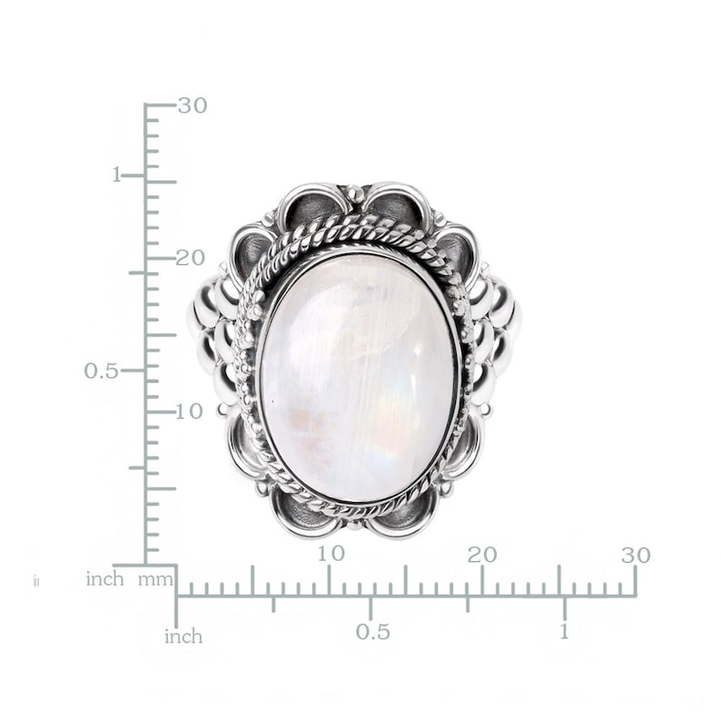 SUVANI Sterling Silver White Moonstone Oval Shaped Rope Edge Grape Design Cocktail Ring Size 6 8 7