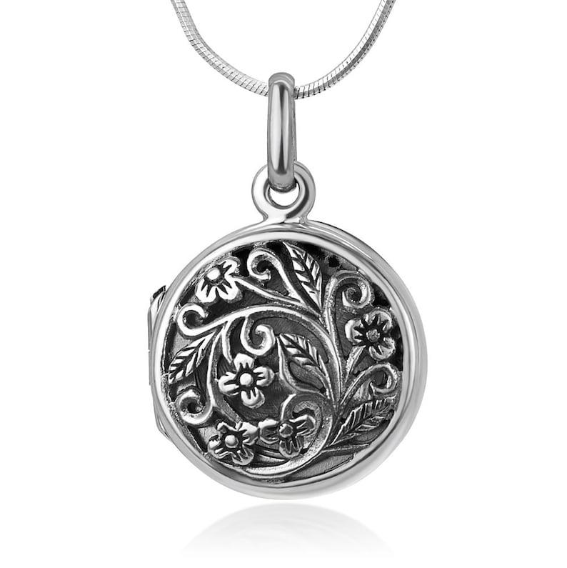 18\u201d 925 Oxidized Sterling Silver Open Filigree Vintage Flower Vine Round Locket Pendant Necklace