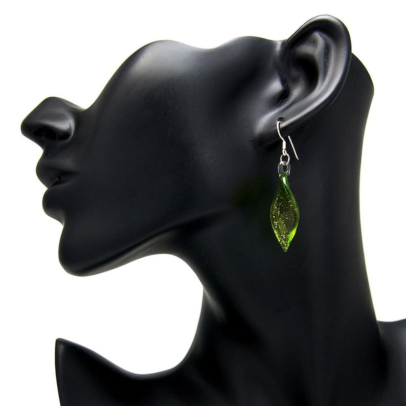 SUVANI 925 Sterling Silver Hand Blown Venetian Murano Glass Leaf Long Dangle Long Earrings