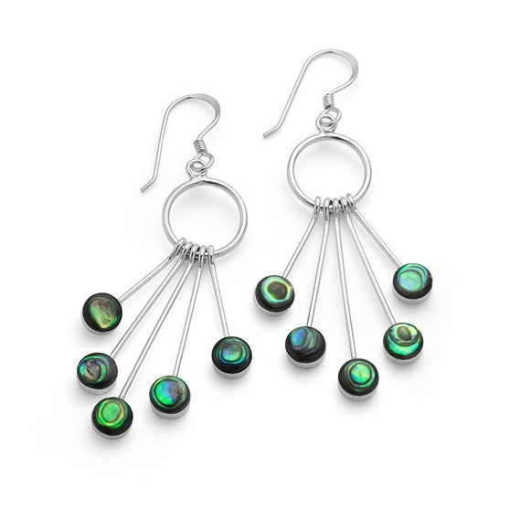 """Balinese 925 Sterling Silver /""""Lotus/"""" earrings inlayed with Paua Abalone shell"""