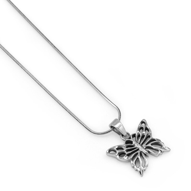 18 inches 925 Oxidized Sterling Silver Celtic Butterfly Animal Lovers Pendant Necklace