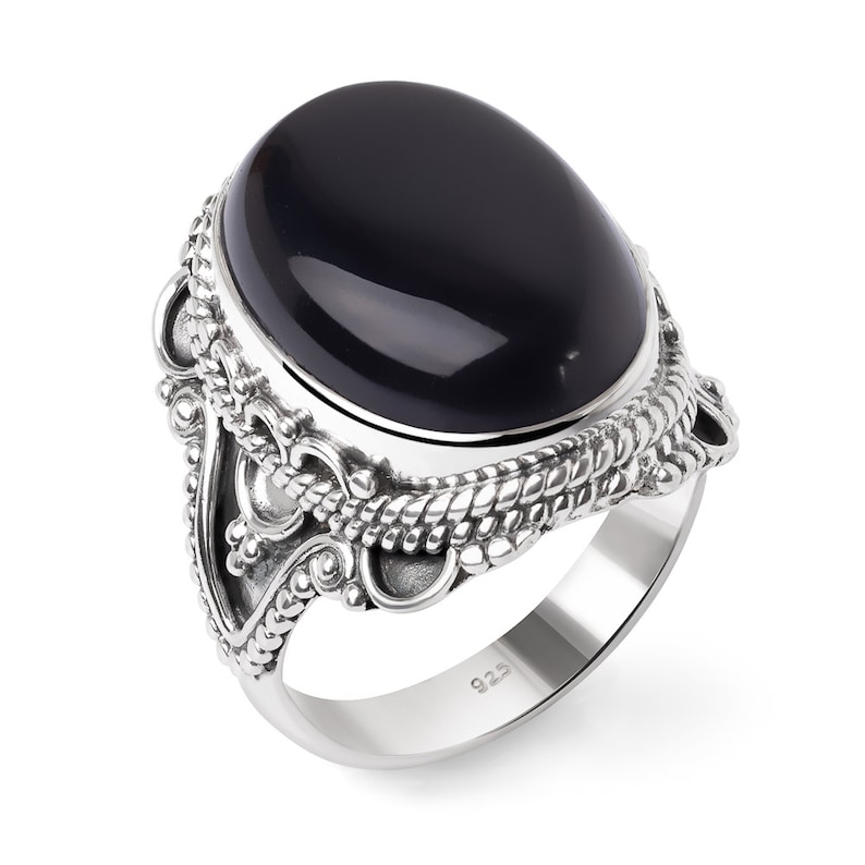 7 8 SUVANI Sterling Silver Black Onyx Oval Shaped Rope Edge Filigree Vintage Women Cocktail Ring Size 6