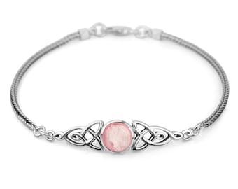 "SUVANI 925 Sterling Silver Genuine Rose Quartz Gemstone Celtic Trinity Knot Triquetra Triskelion Trikele Bracelet 8"""