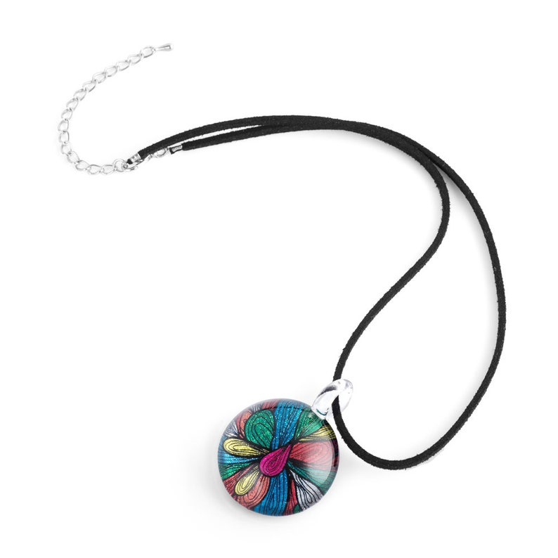SUVANI Hand Blown Glass Jewelry Multi-Colored Abstract Flower Art Round Pendant Necklace 17-19 inches