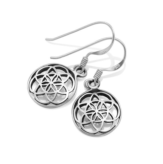925 Sterling Silver Bali Inspired Flora Design Open Filigree Round Hoop Dangle Earrings