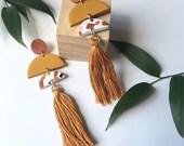 Drea style-Mustard Fall Terrazzo Long tassel statement earrings