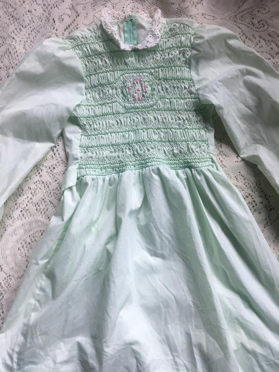 Mint Green Handsmocked Polly Flinders Girls' Dres… - image 4