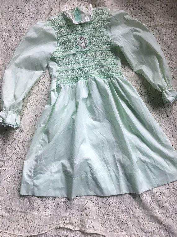 Mint Green Handsmocked Polly Flinders Girls' Dres… - image 1