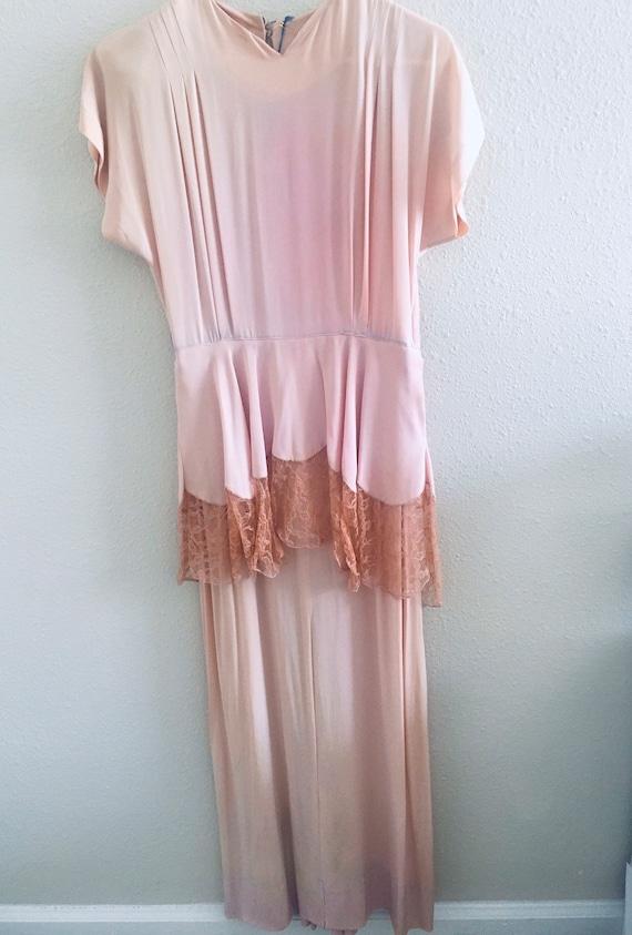 Rose Floor-length Peplum Dress late 30's to early… - image 1