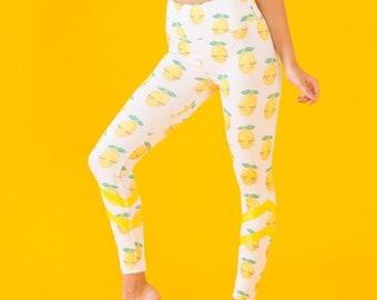 ff0d6753e00b72 Yoga Leggings Lemon Printed Lightweight Bottoms