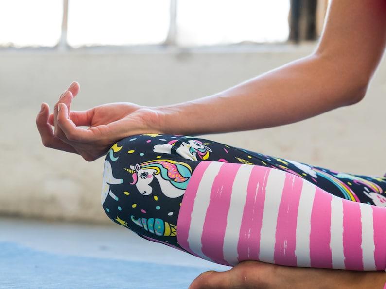 Yoga Leggings Unicorn Rainbow Stripes Printed Sports Dance Pants Lightweight Bottoms