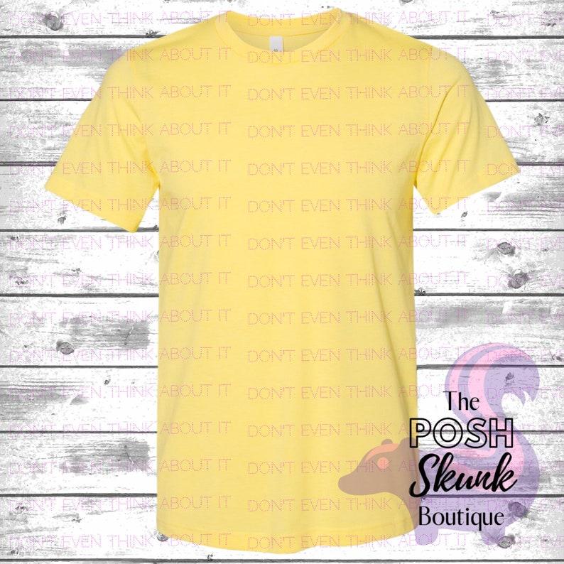 Heather Yellow 3001CVC Mockup Bella Canvas 3001CVC T-Shirt Flatlay T-Shirt Mockup Bella Canvas 3001 CVC