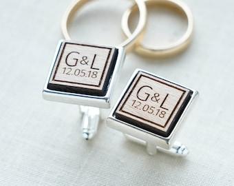 INITIALS Wedding Personalized Cufflinks, Engraved Cufflinks, Groom Cufflinks, Custom Cufflinks, Personalised Cufflinks, Anniversary Gift
