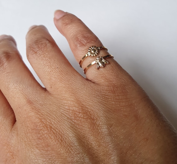 Gold Little Bee Stackable Ring in 14K Gold-Filled