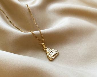 Personalized Jewelry Yoga Charm Necklace Diamond Charm Necklace Everyday Necklace Minimalist Jewelry Layering Necklace Yoga Necklace
