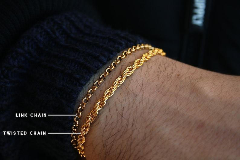 Mens Gold Bracelets  Chain Bracelet Men  Gold Bracelet Men  Mens Bracelet Personalized  Custom Bracelet Men  Gift For Him Ideas