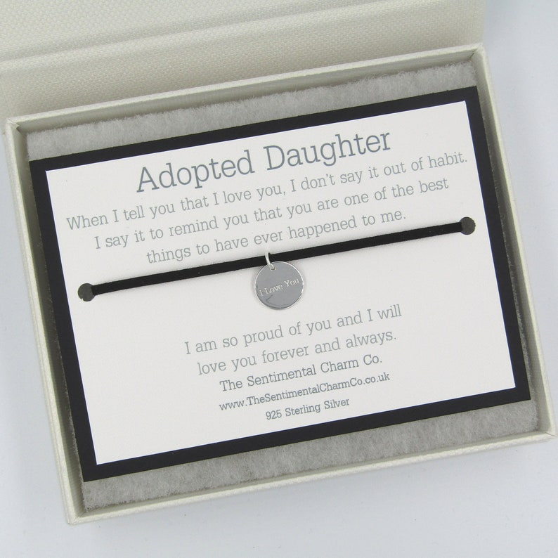0105 Adopted Daughter Friendship Wish Bracelet I Love You Silver Plated Suede Quote Wrap Tie 925