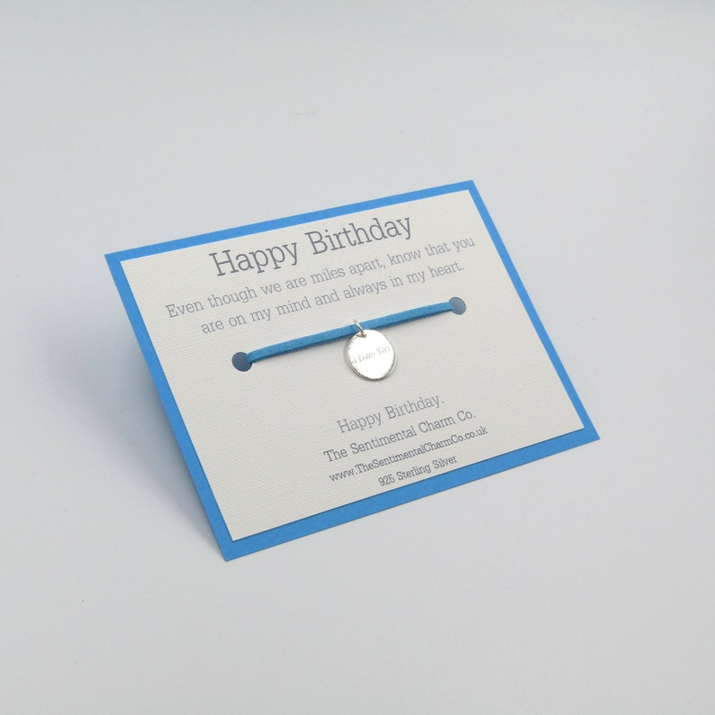 0395 Happy Birthday Long Distance Silver 925 Plated Bracelet Friendship Charm Wish Quote Gift