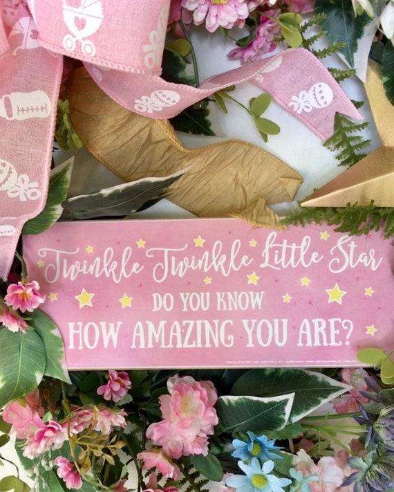 Twinkle twinkle little star A Star is Born, Baby shower Door Baby Girl nursery hoop