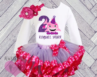 20c2b3bd697e Shark 2nd Birthday Outfit Toddler Girl 2, Personalized Second Birthday Set,  Winter Two Year Old, Birthday Shirt Tutu Skirt Hot Pink Purple