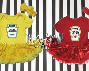 halloween costumes for twins sisters siblings baby girls 4 pc ketchup mustard tutu dresses matching outfits costumes for multiples