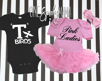 halloween costumes for twins brother sister siblings grease t birds pink ladies baby girl baby boy matching outfits costumes for multiples