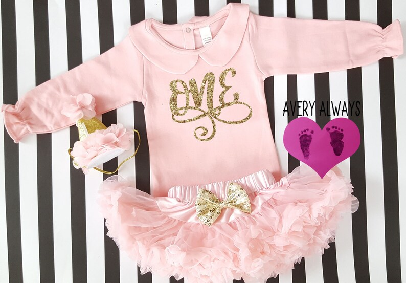 0347904c4982 First Birthday Outfit Baby Girl Gold Glitter One Pink and