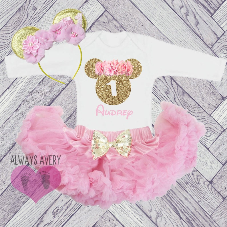 6317b9900 1st Birthday Outfit Baby Girl Minnie First Birthday Outfit