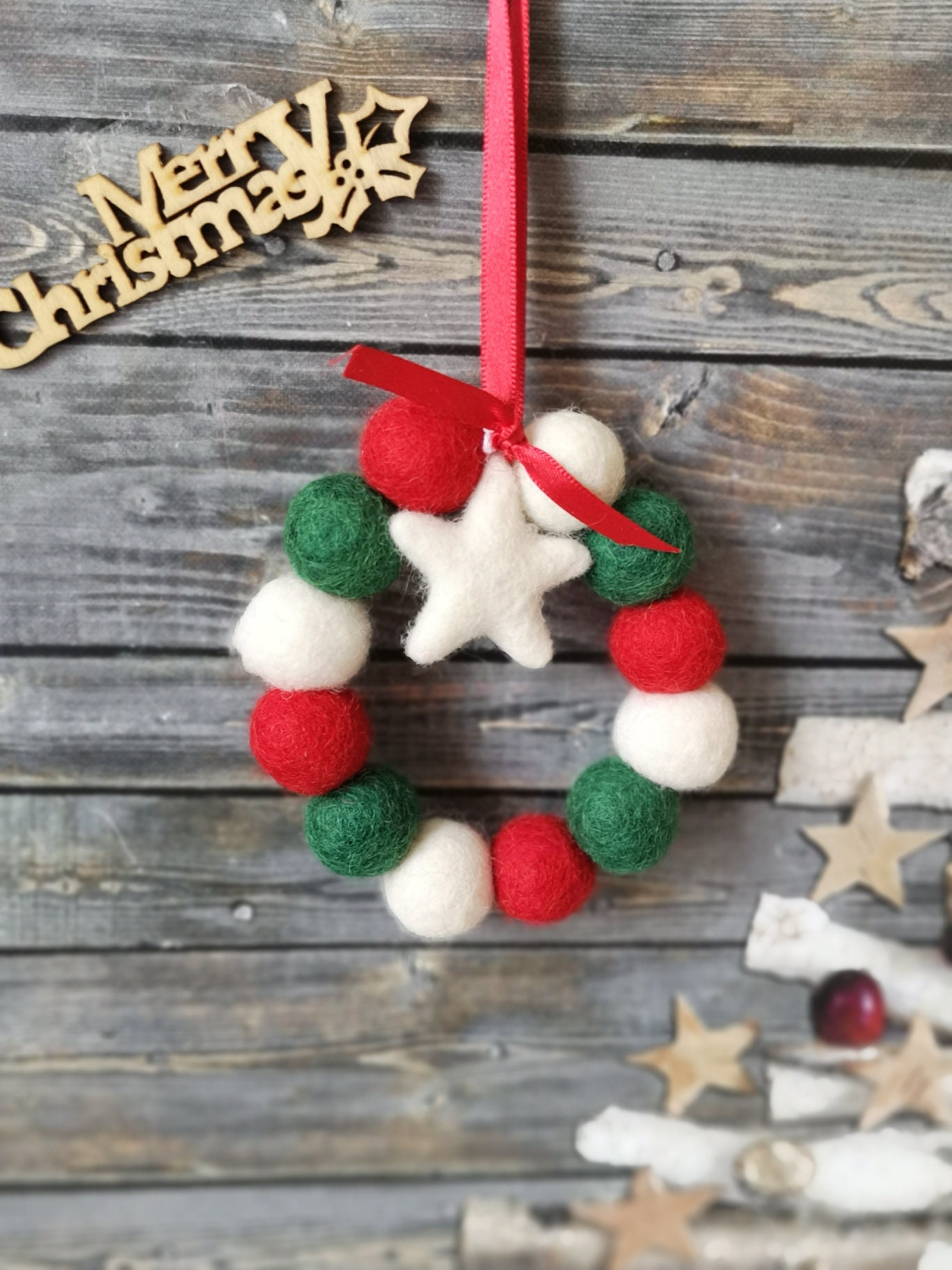 Mini Pom Pom Christmas Wreath Hanging Decoration Festive Etsy