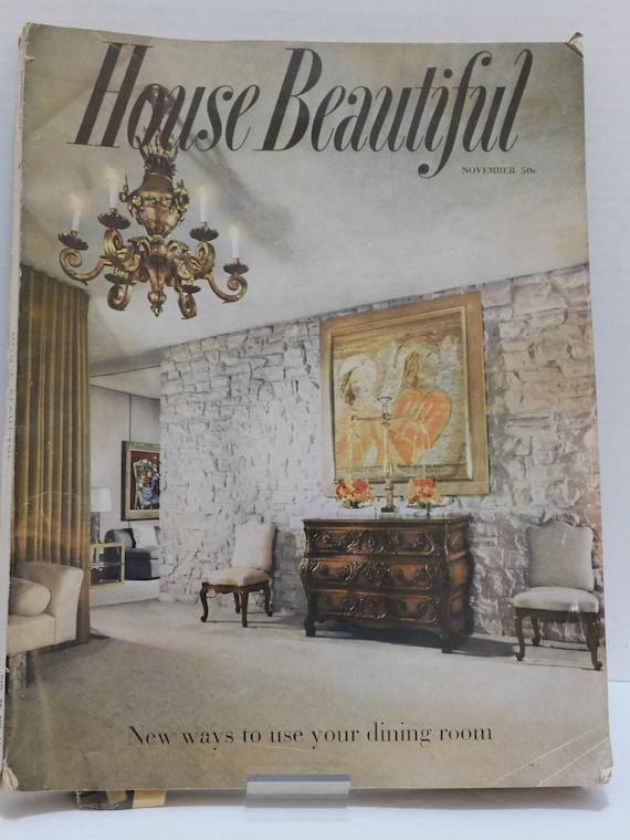 Vintage November 1954 House Beautiful Magzine Mid Century Decorating  Advertising
