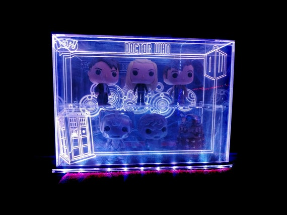 Acrylic LED Display Case for Funko Pop, Custom Design, Fits 6