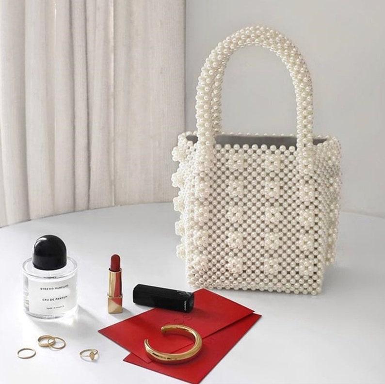 Beaded White Pearl Bag Handmade White Bead Purse Bridal