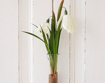 """Test tube hanger """"Chessboard flowers"""" - white - total height 28 cm"""