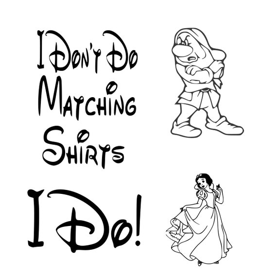 graphic about Printable Shirts identified as disney, i dont do matching shirts, i do, grumpy, snow white, matching, blouse style and design, printable, silhouette, cricut, immediate down load