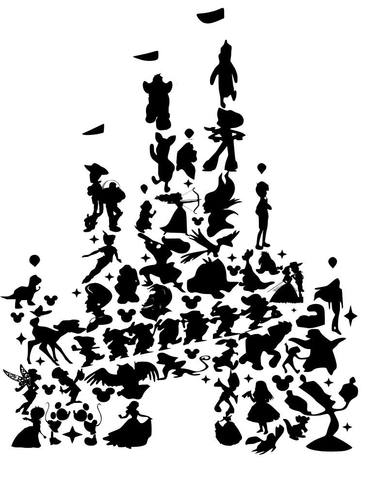 It is a graphic of Delicate Disney Character Silhouettes