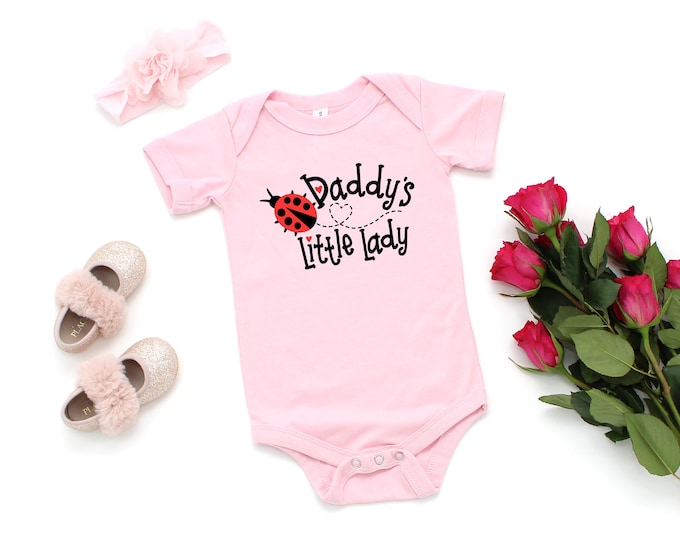 Daddy's Little Lady Baby One Piece, Two colors available, Ladybug Bodysuit