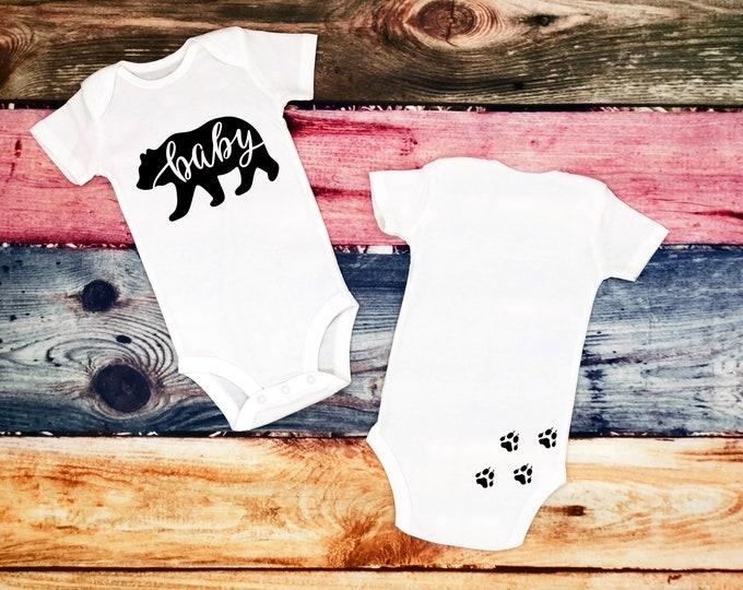 Baby Bear White Bodysuit, 4 Color Options