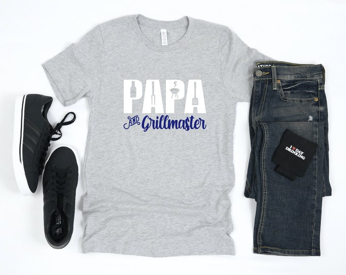 Papa and Grillmaster Short Sleeve, Father's Day, Dad Shirt, 3 Colors Available