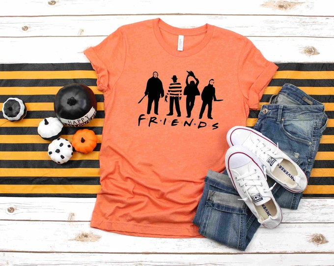 Halloween Friends, Horror Shirt, Funny short sleeve, two colors available