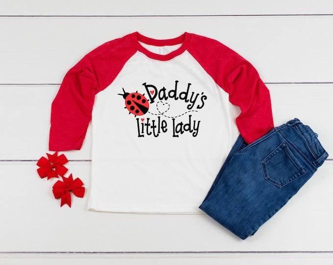 Daddy's Little Lady Youth Raglan, Girls 3/4 Sleeve, Ladybug Shirt