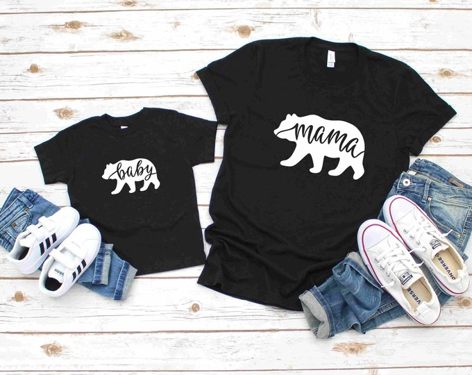Mama Bear and Baby Bear Matching Shirts, Black Short Sleeve, Mommy and Me