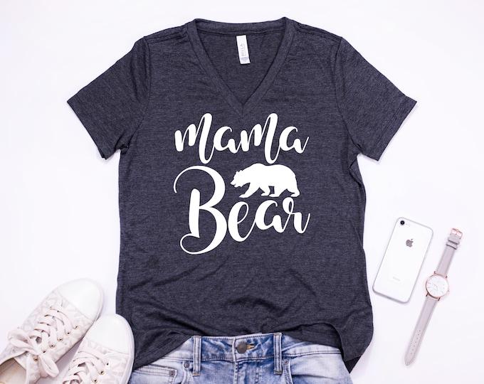 Mama Bear Shirt 2, Women's V-Neck, Two color options